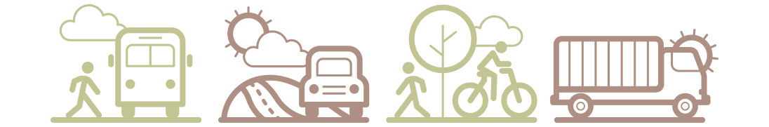 icon for pedestrian, roadways, freight, and public transportation