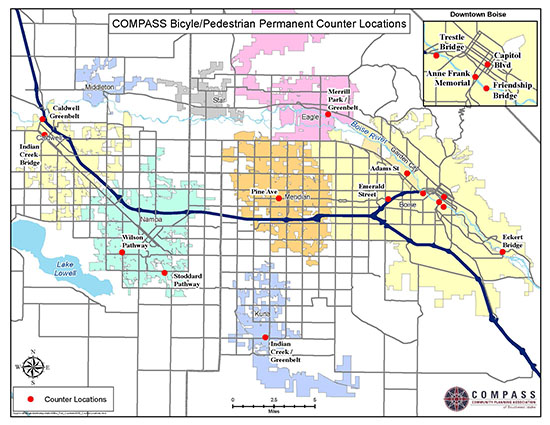 Map showing all permanent bicycle and pedestrian counter locations in Ada and Canyon Counties