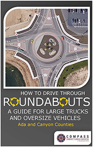 Image of the cover of an informational brochure about roundabout usage for large trucks